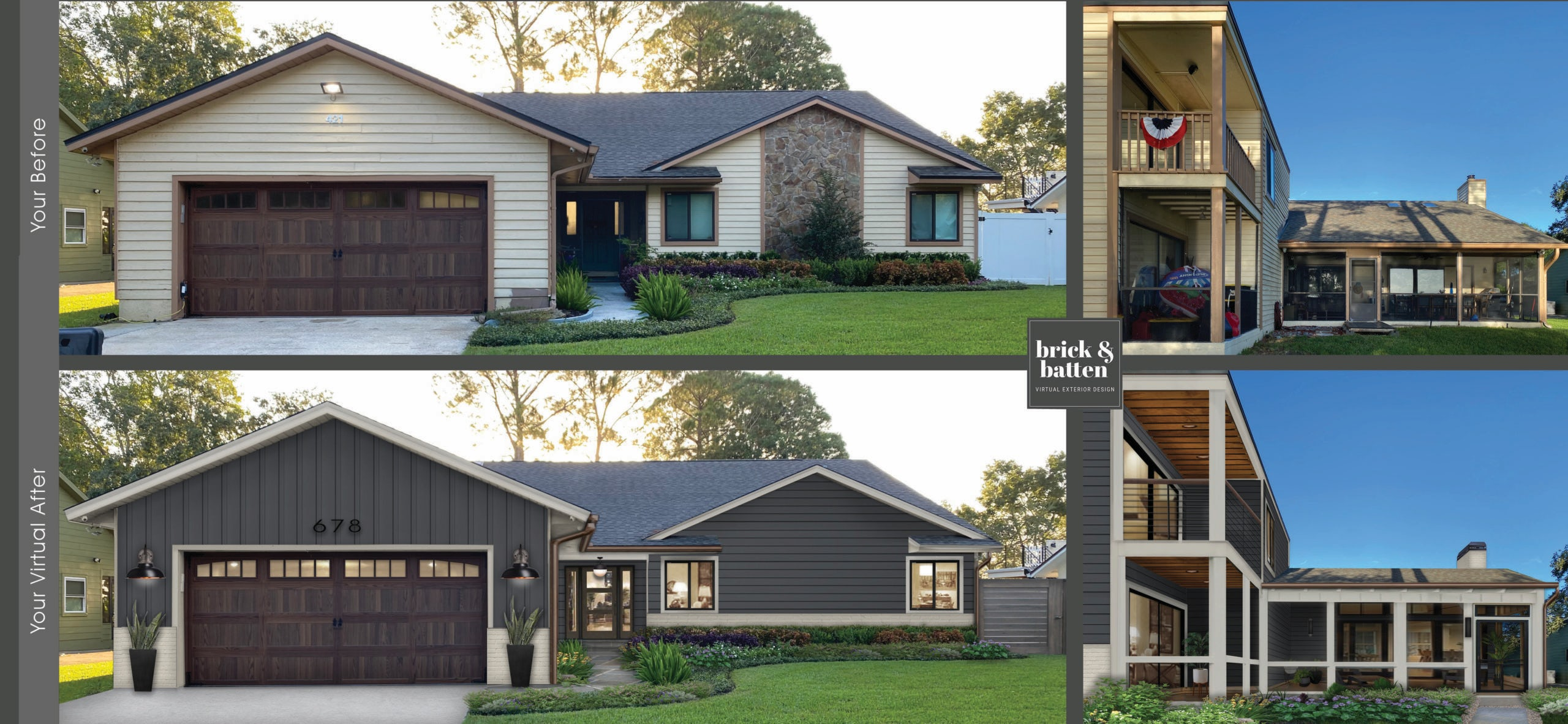 A before and after of a home with new paint and a screen porch