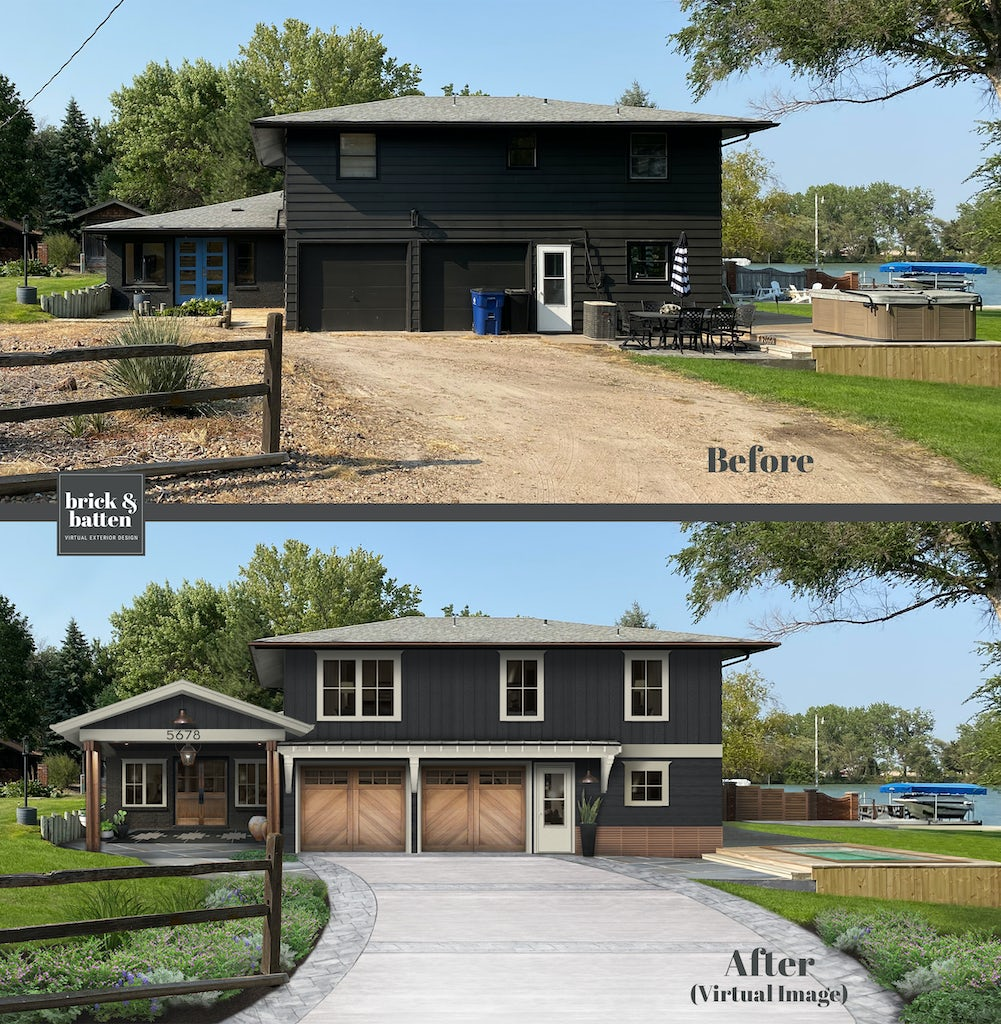 Before and after of a lake home featuring updated white trim, a front patio overhang addition, and wood accents, including updated garage doors.