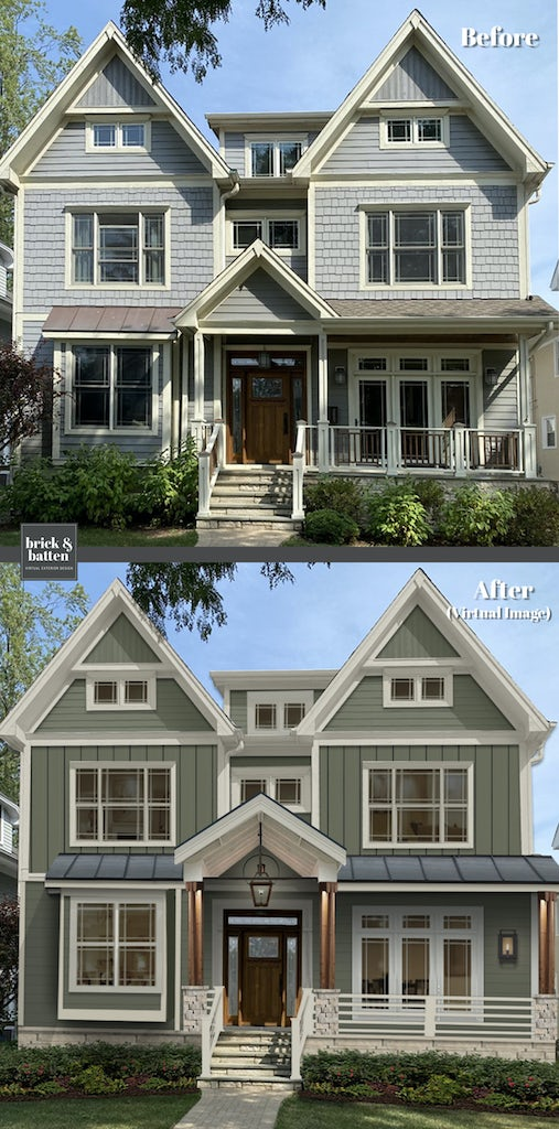 Before and after of a three-story home. The after features an earthy green James Hardie paneling.