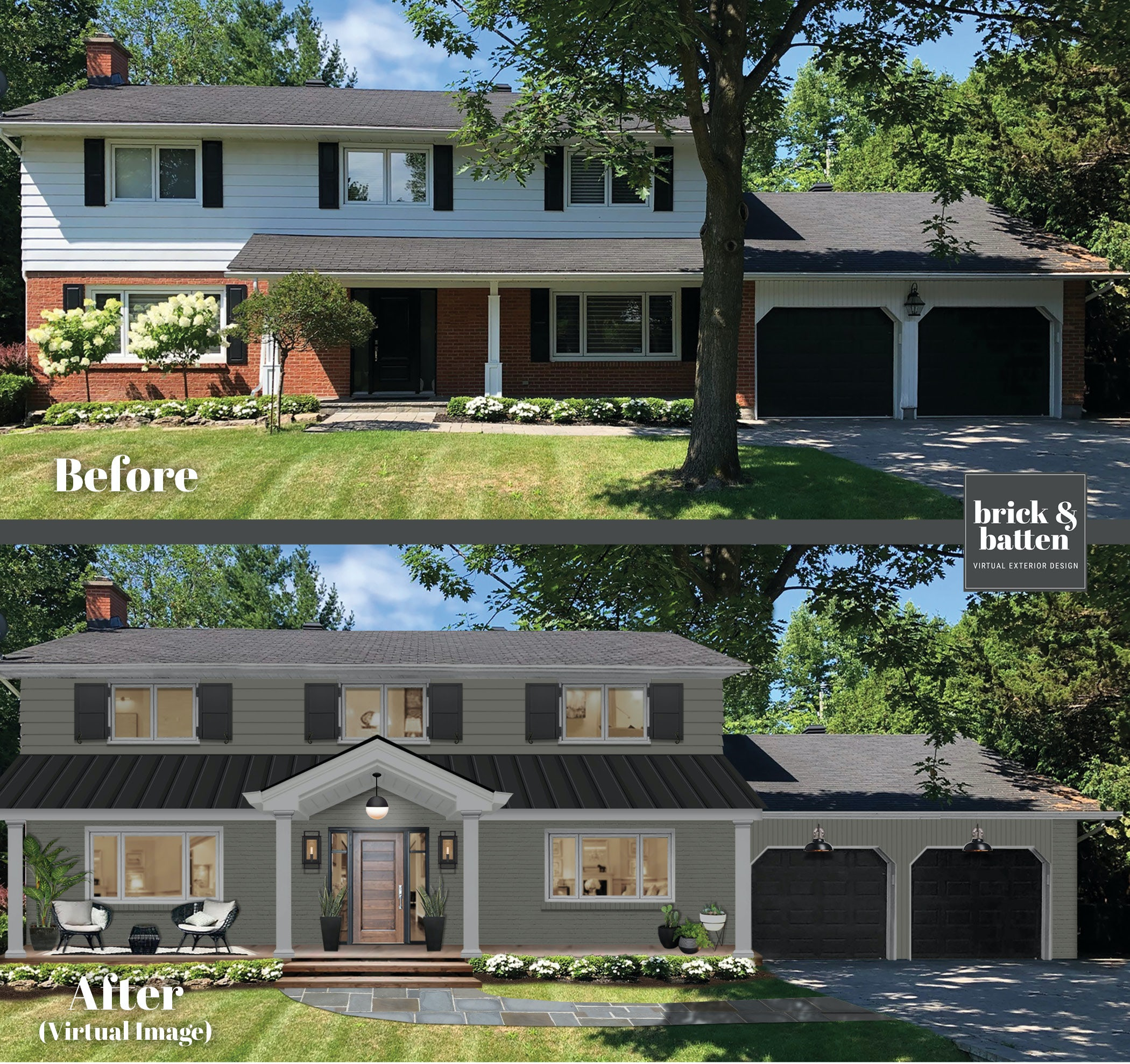 Before and after of a home with more symmetry