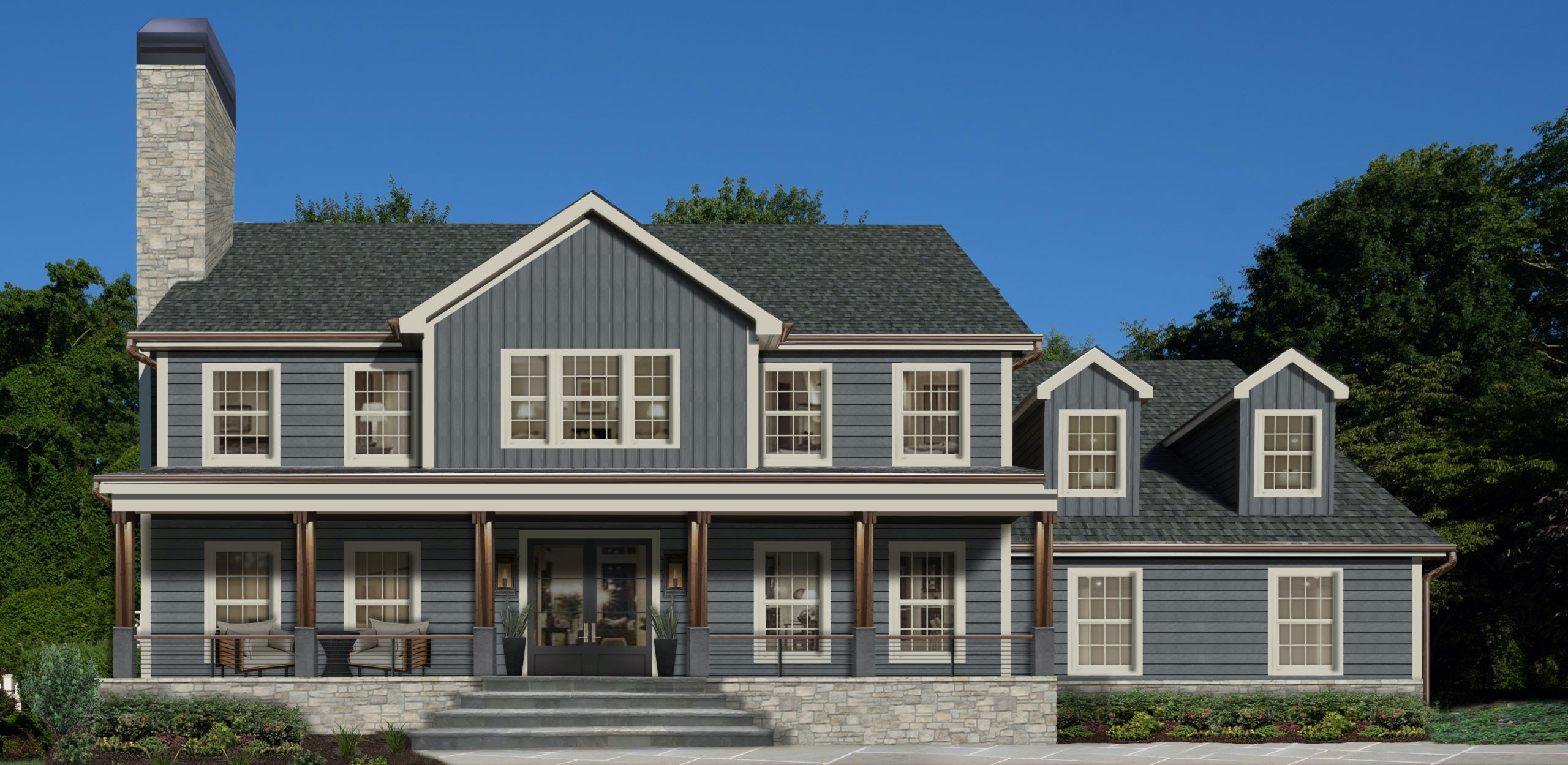 Rendering of a large slate colored home