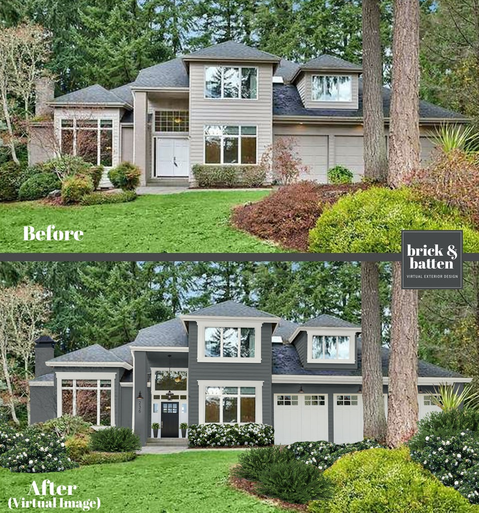Before and after of a transitional home. The after image features slate siding, expanded creamy white, and an updated three-car garage.