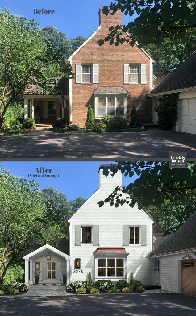 Before and after of a traditional brick home. The after features the brick painted white and shutters updated in a pale greenish gray.