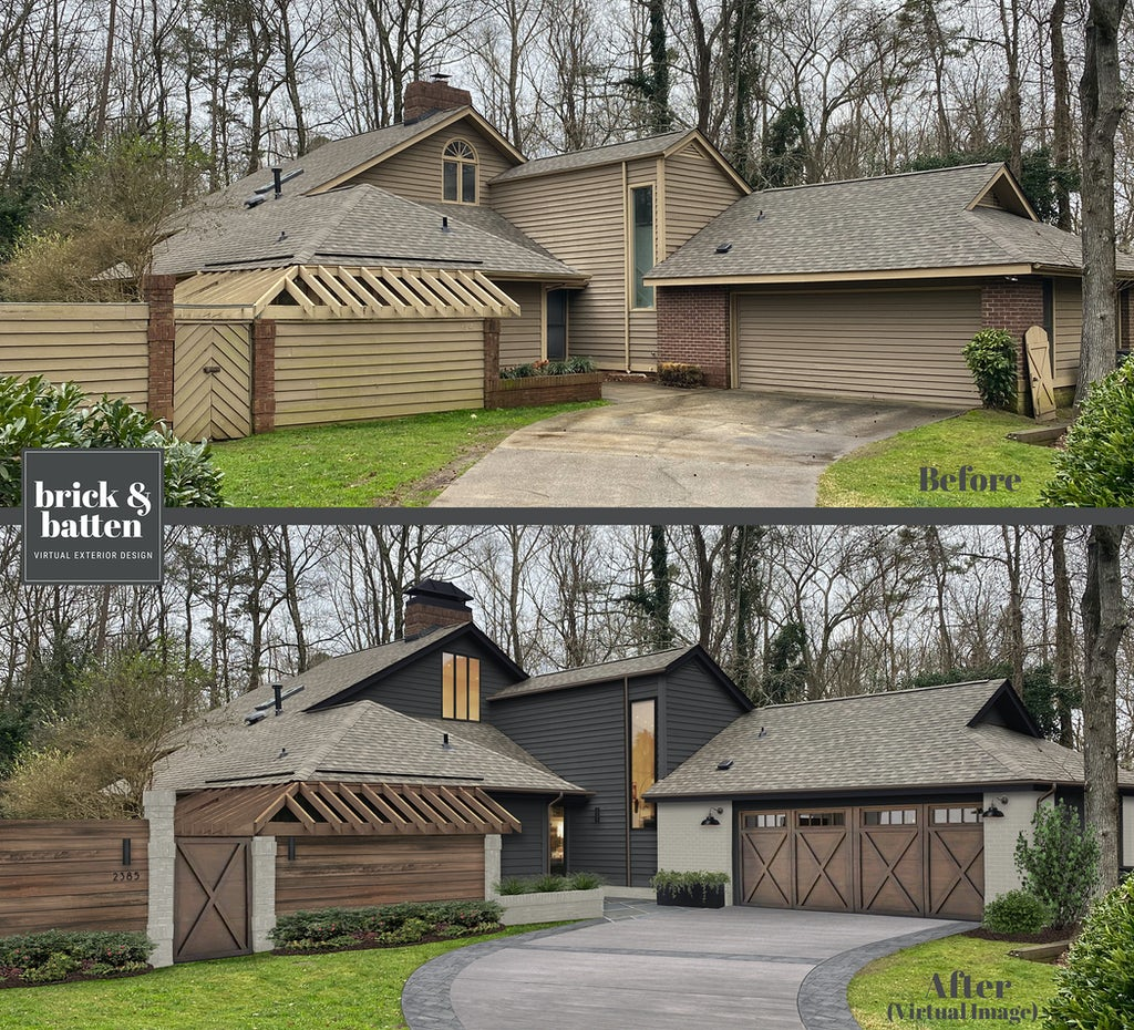 Before and after of a two-story home. The after features a two tone color palette of charcoal and slate-painted brick with wood accents.