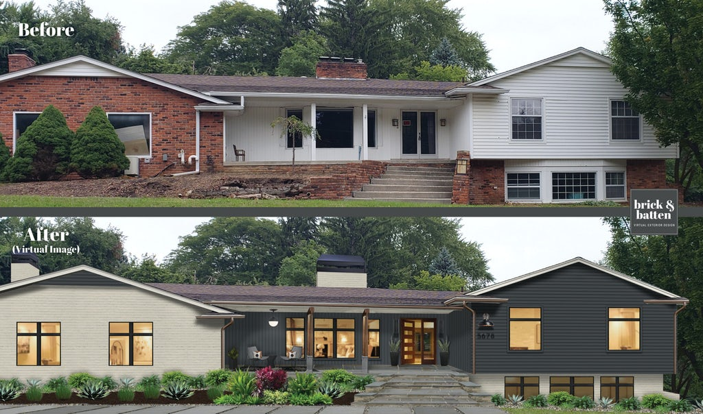 Before and after of a traditional ranch home with a large porch. The after features a two tone color palette of charcoal and white brick.