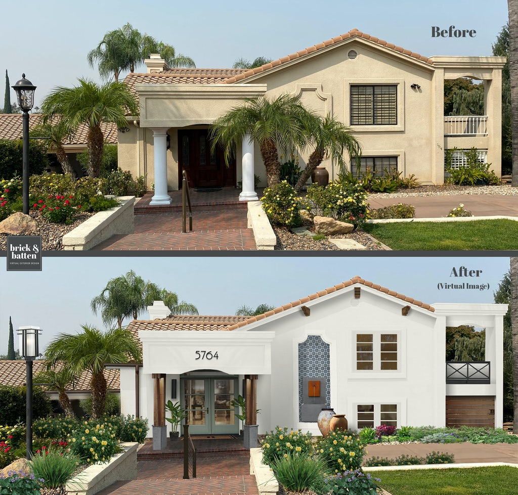 Before and after of a stucco home with a clay tile roof. The before photo shows a beige home. The after exterior design features white paint, wood accents, tile, a fountain, and a colorful front double door painted in Greyhound