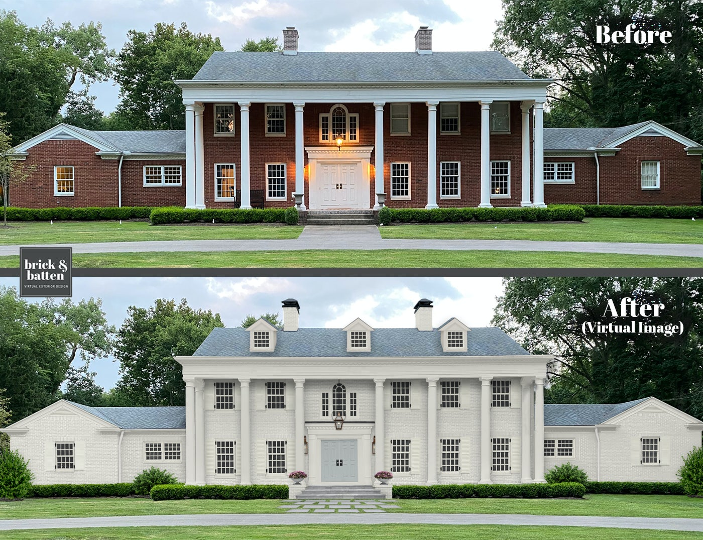 Before and after of home with added dormers