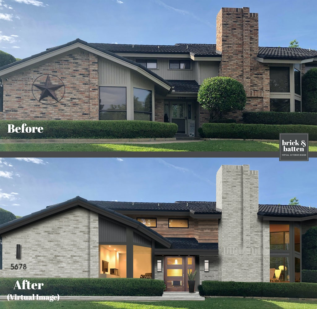 Before and after of a home with updated lighter brick, wood accents, and dark gray siding.