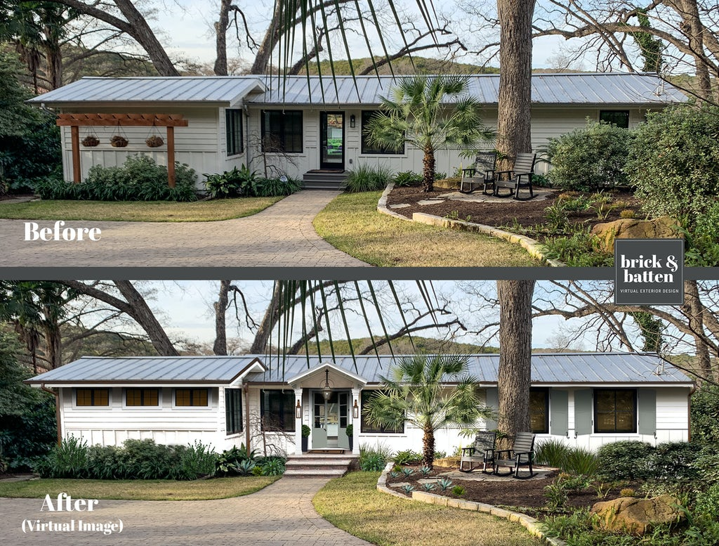Before and after of a ranch house with a new entryway featuring a colorful painted door, new windows, and shutters
