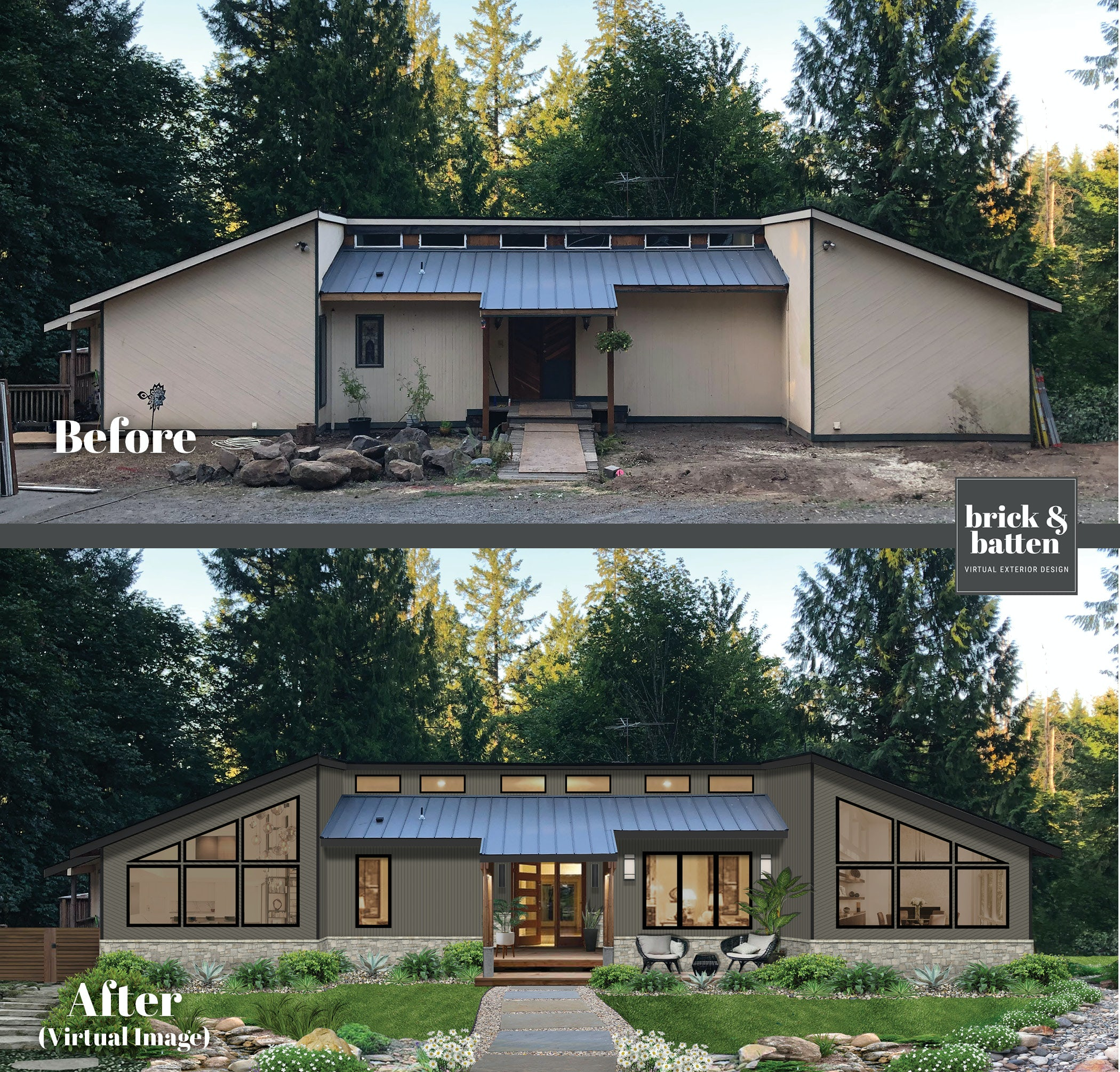 before and after of home with new windows