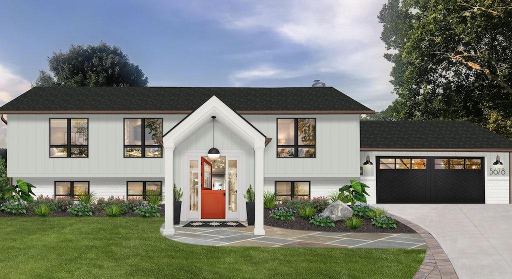 Virtual exterior design of a home with contemporary design elements