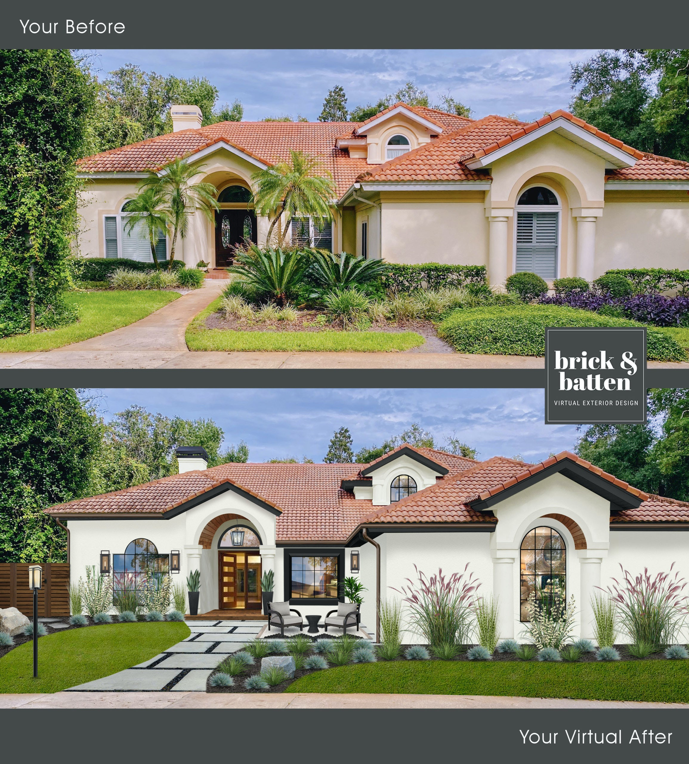 Before and After house with arches