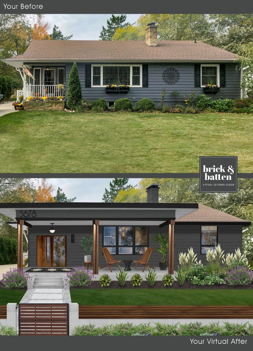 before and after of home with patio overhang