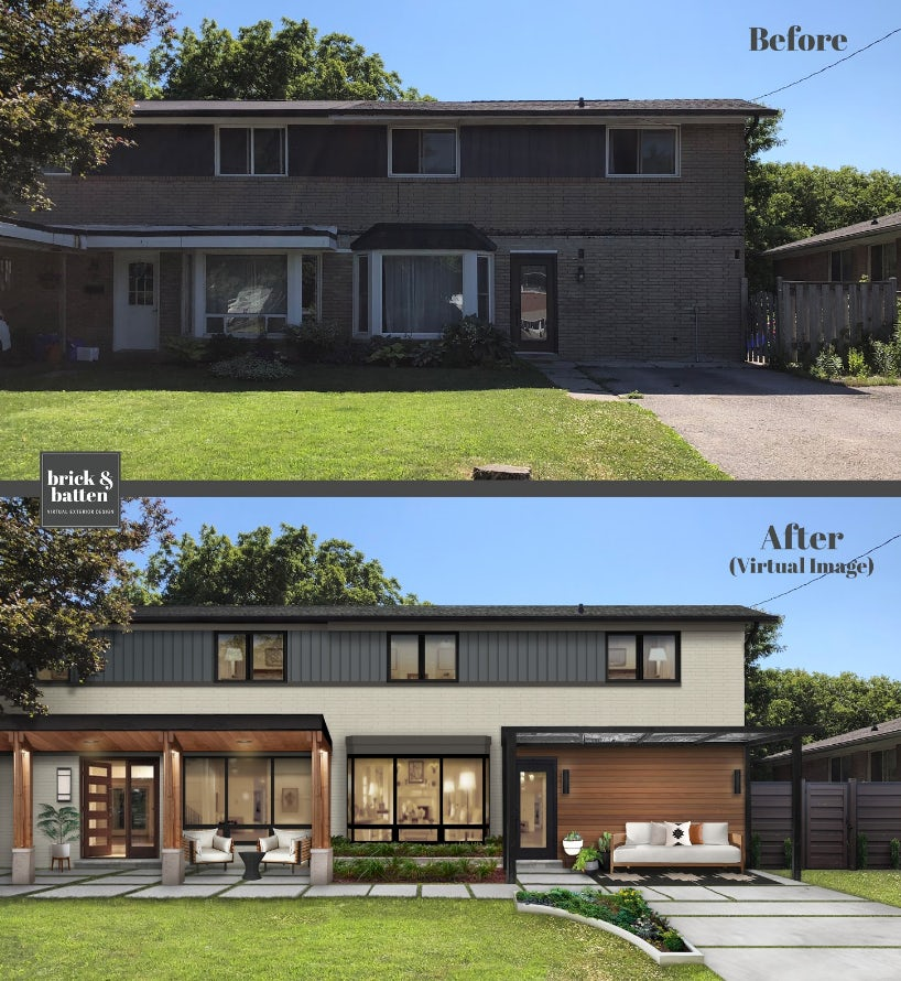 Before and after of midcentury home with wood accents