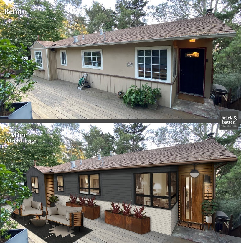 Before and after of a ranch home with midcentury accents