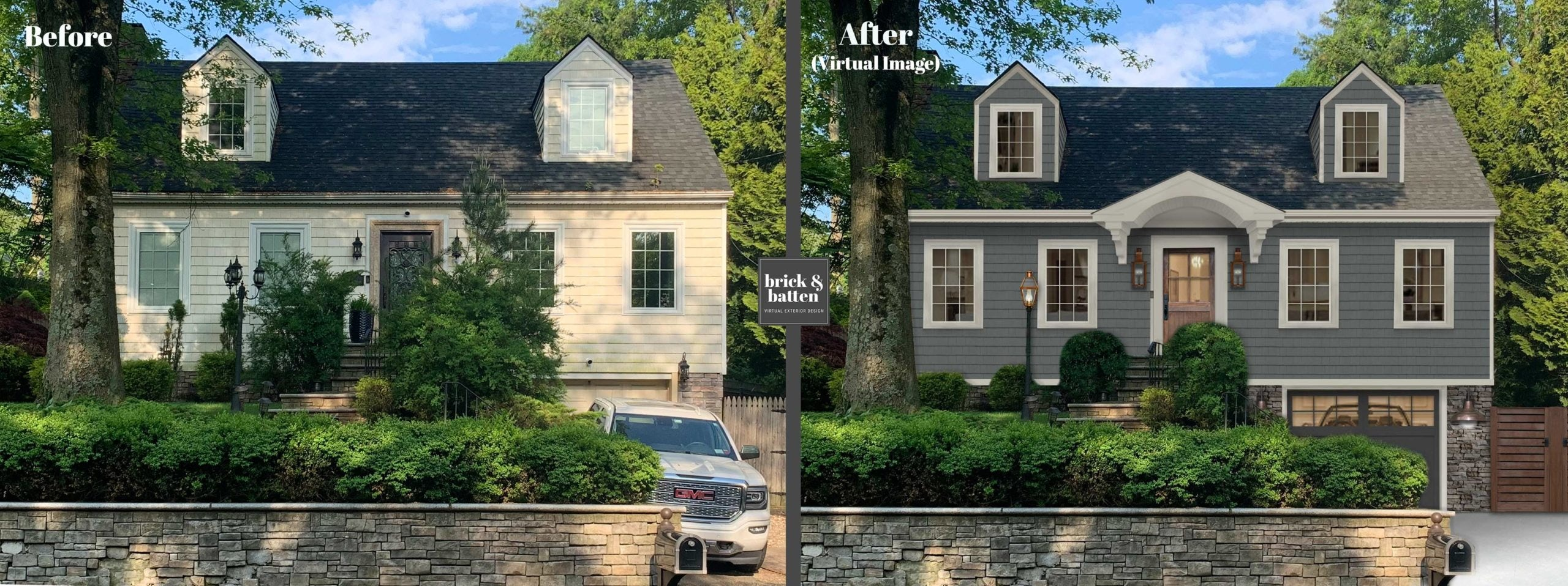 Before and after of a colonial home painted gray