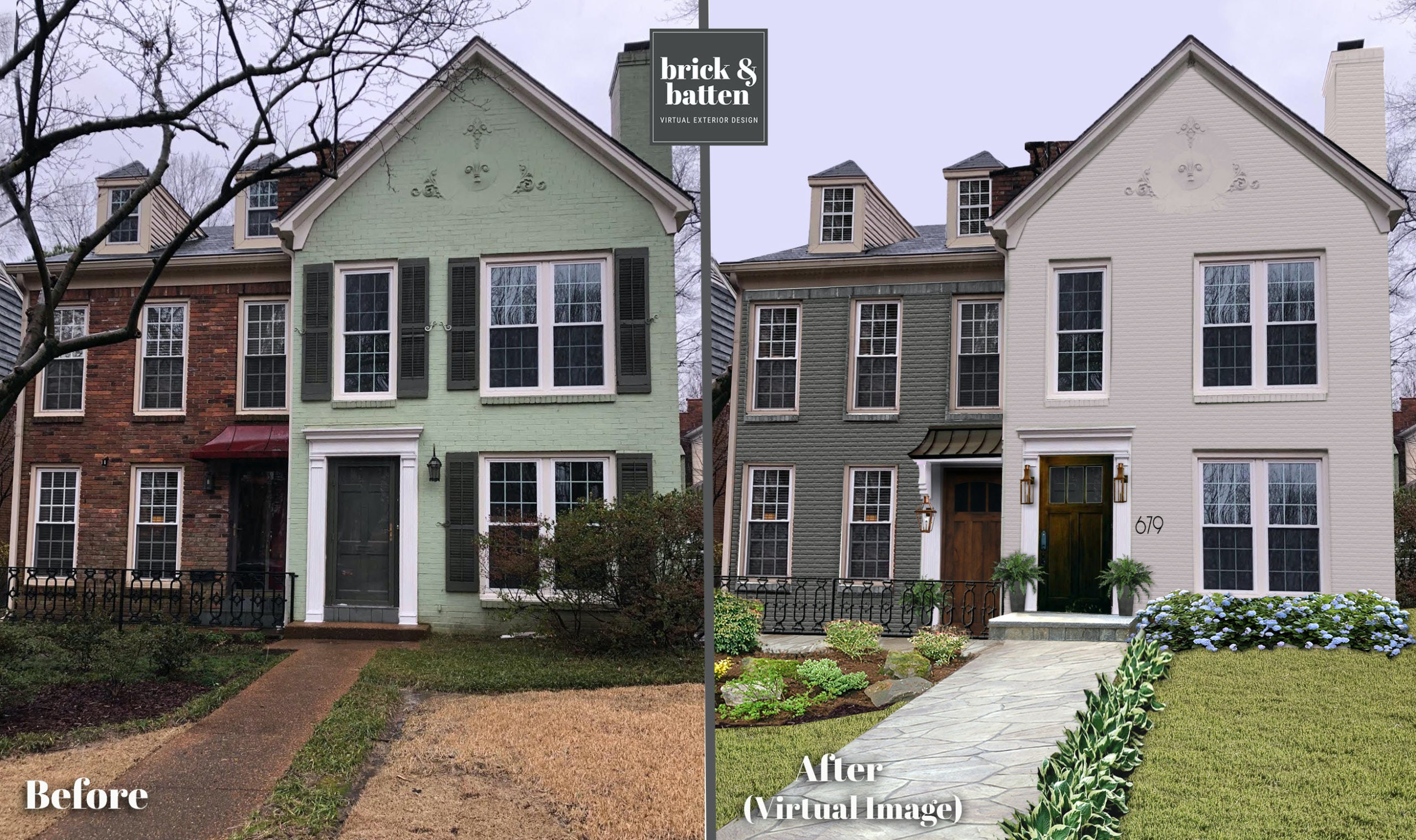 before and after of a colonial home painted green