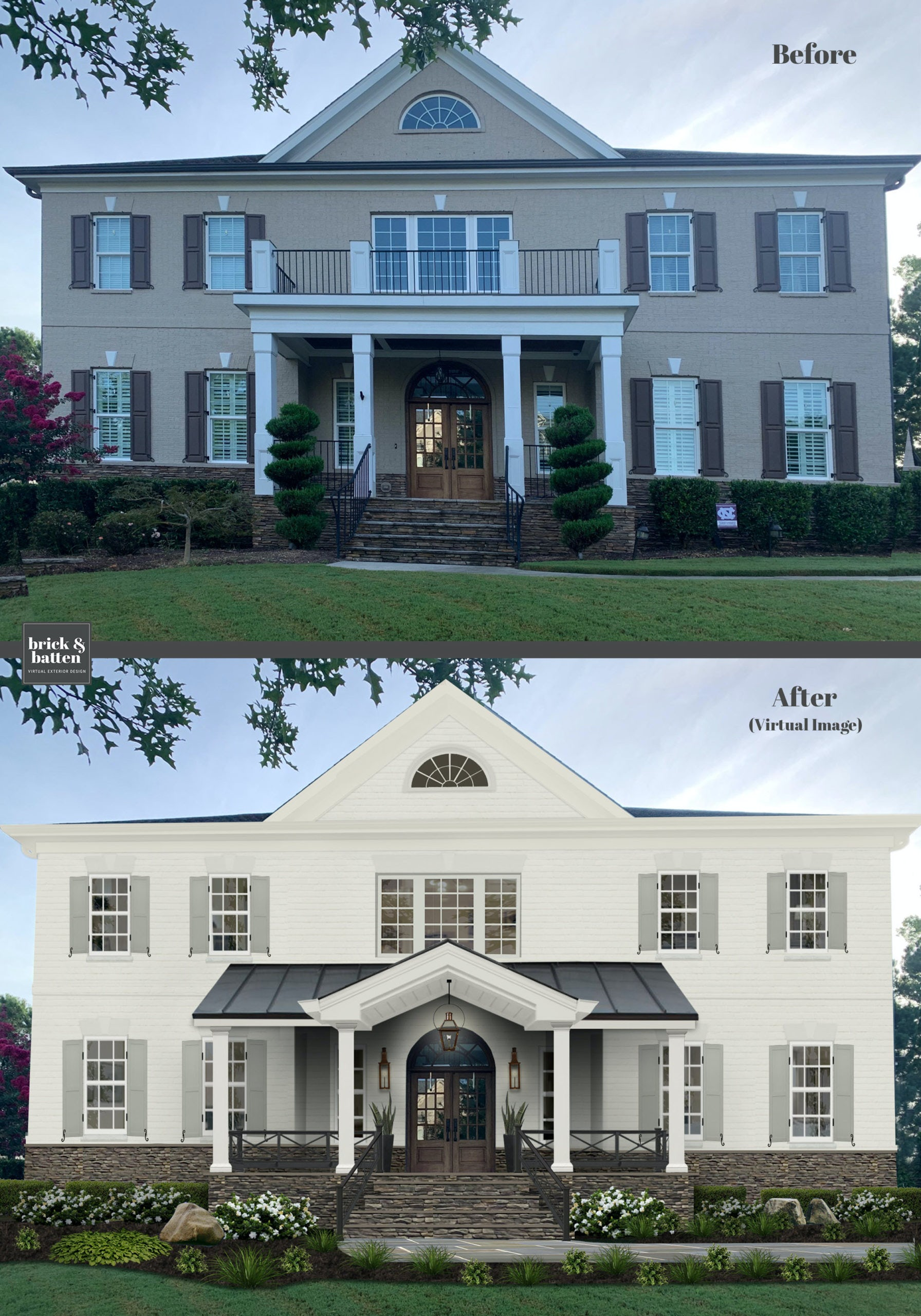 Before and after of a home with white paint and new shutters