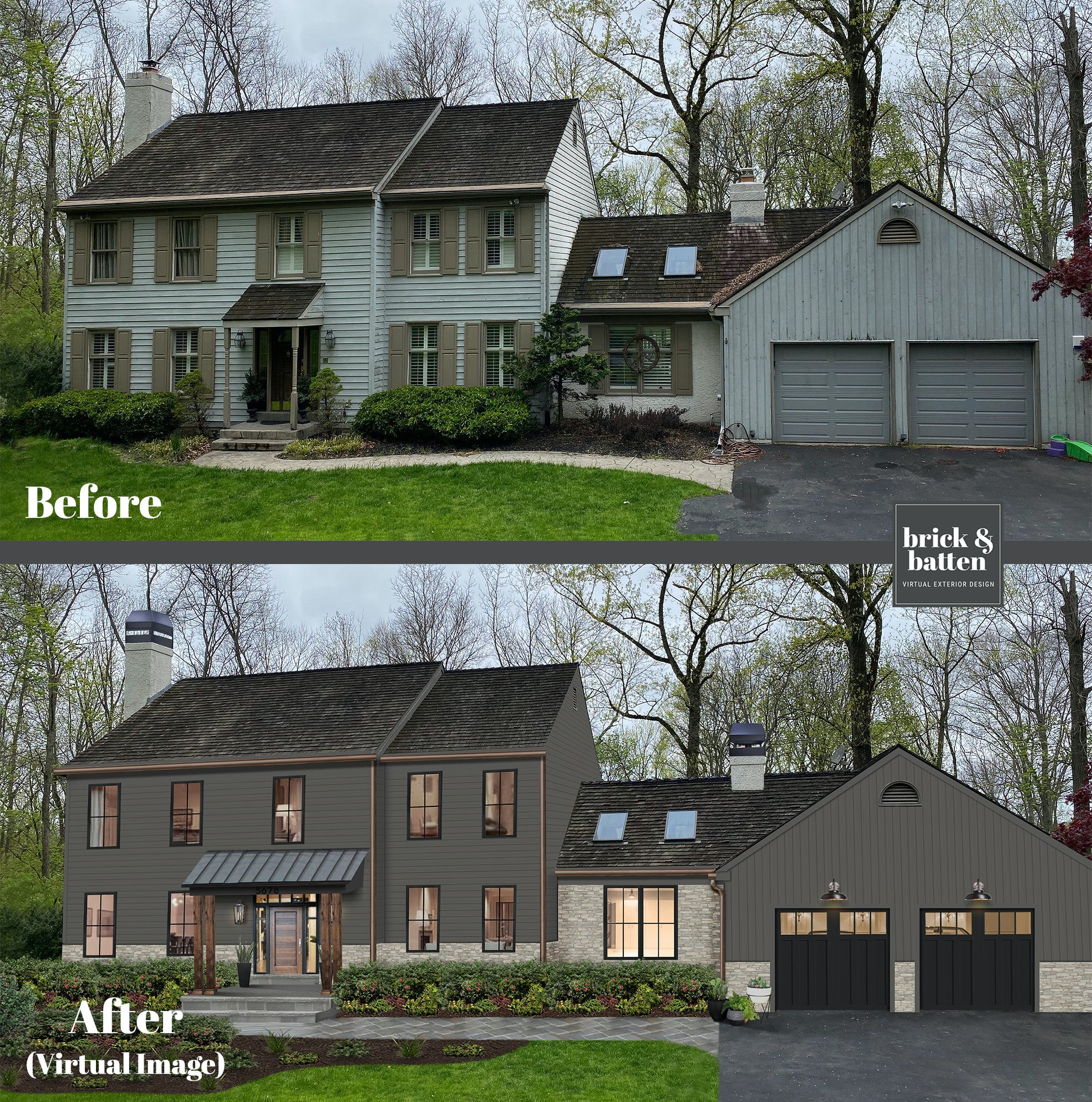 Before and after of an updated colonial home
