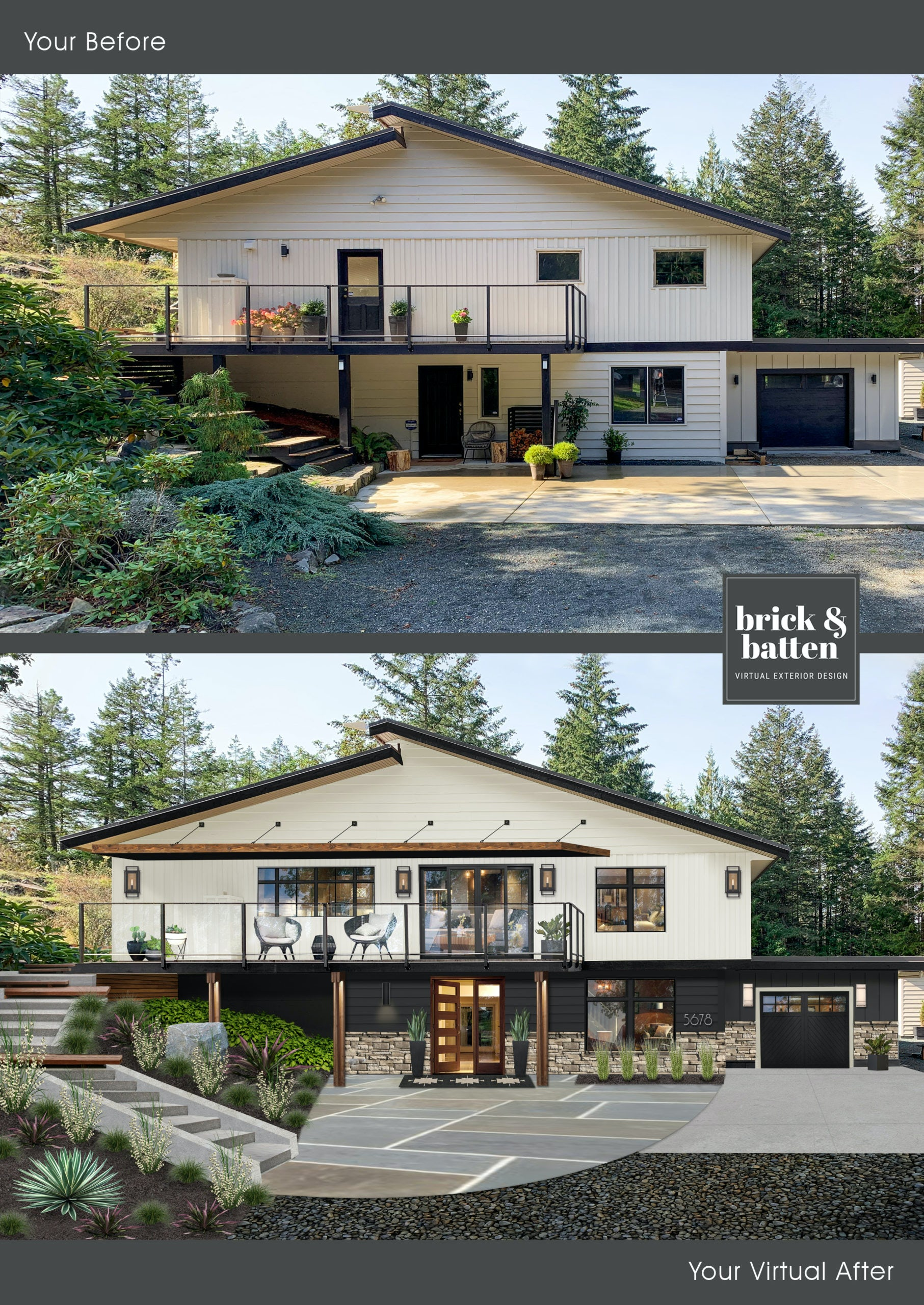 Before and after of a midcentury home with new windows