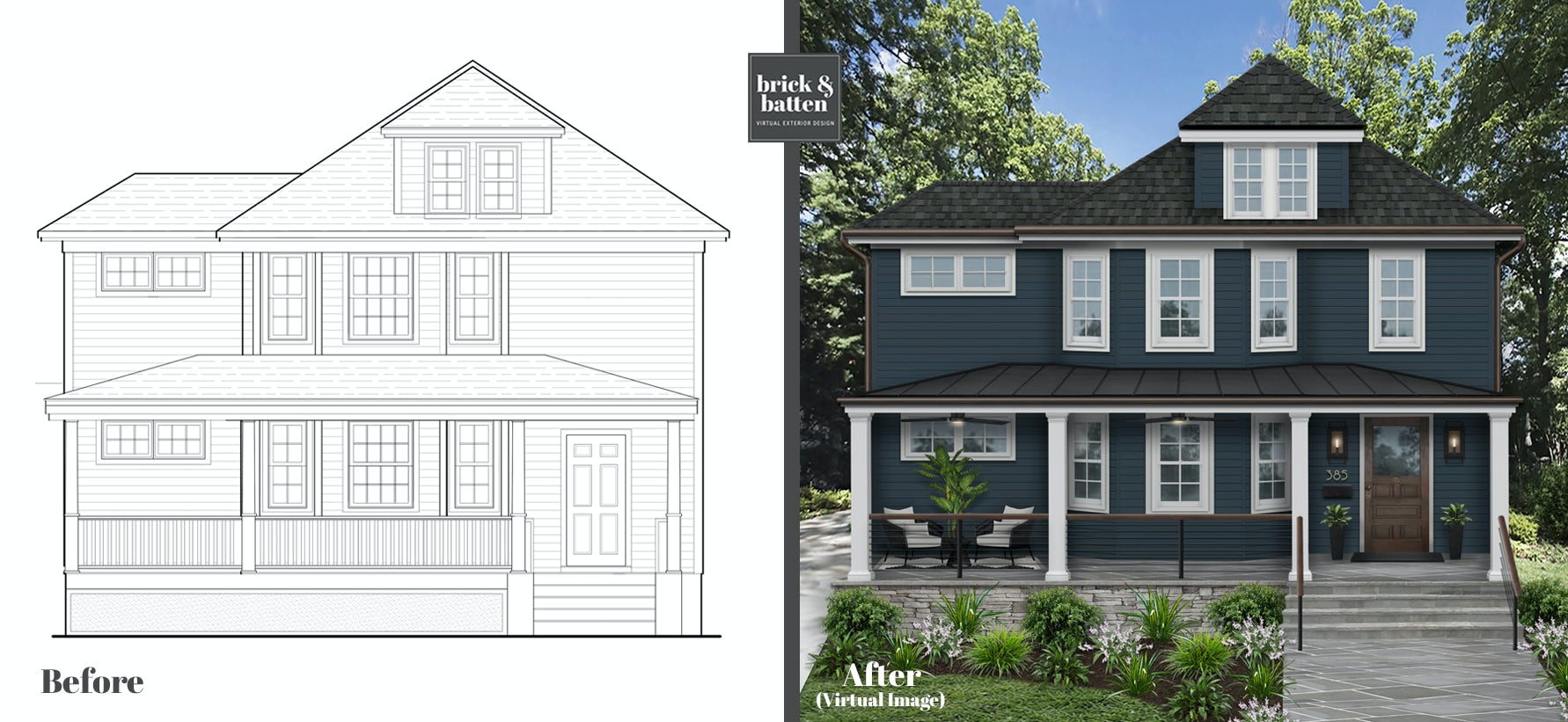 a blue print and a rendering of a colonial home