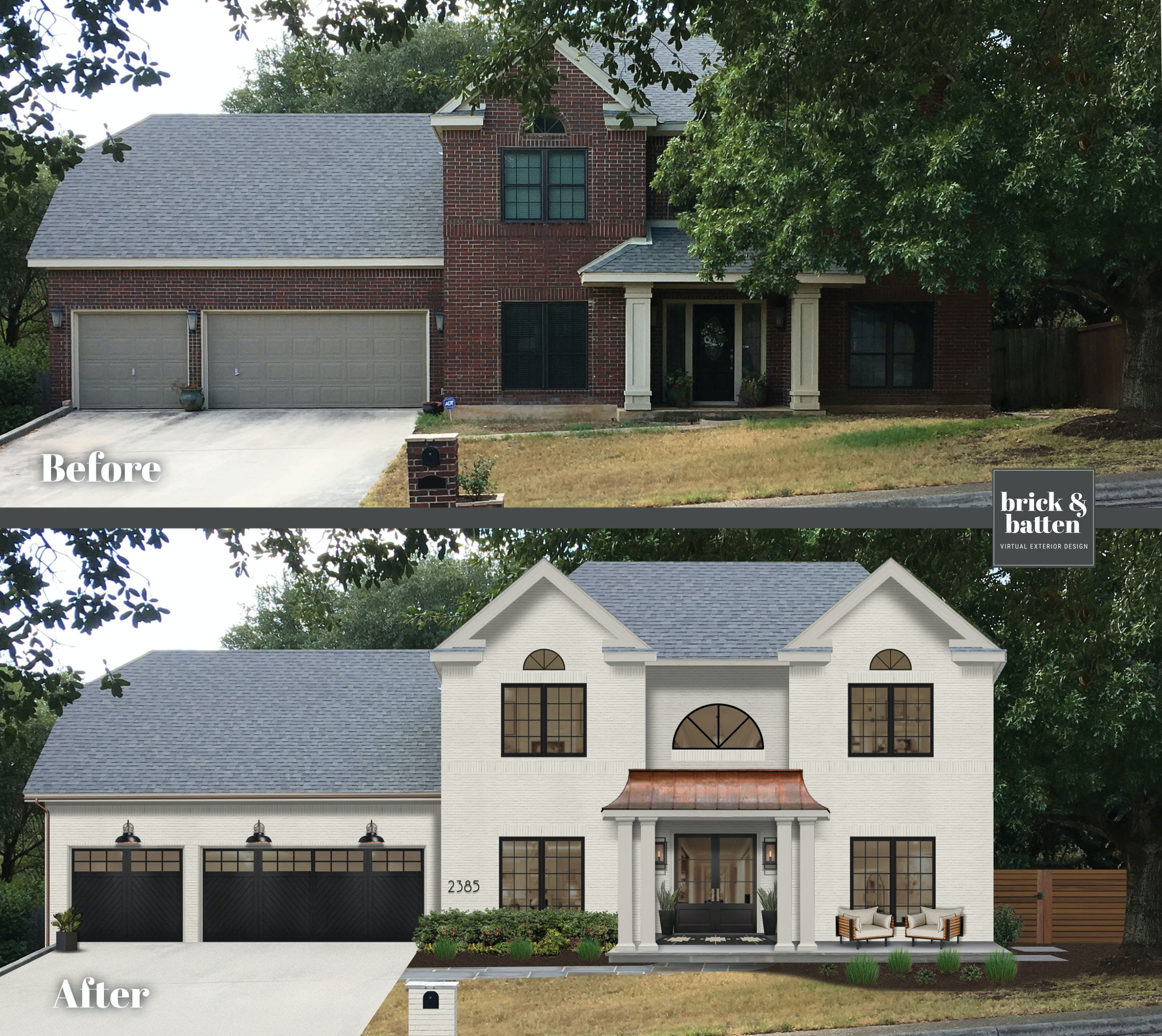 Before and after of colonial home with white brick