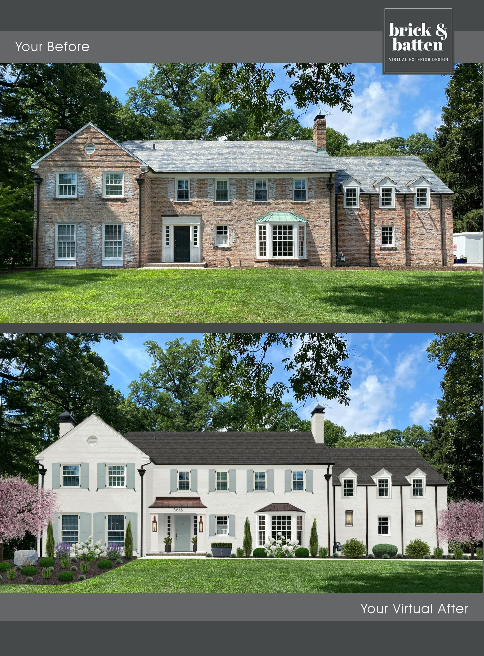 Before and after of painted white brick