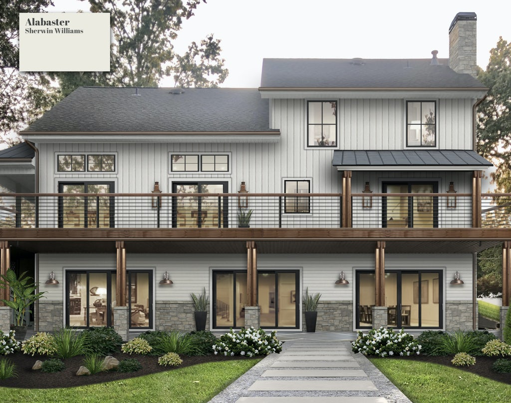A rendering of a back of home painted white