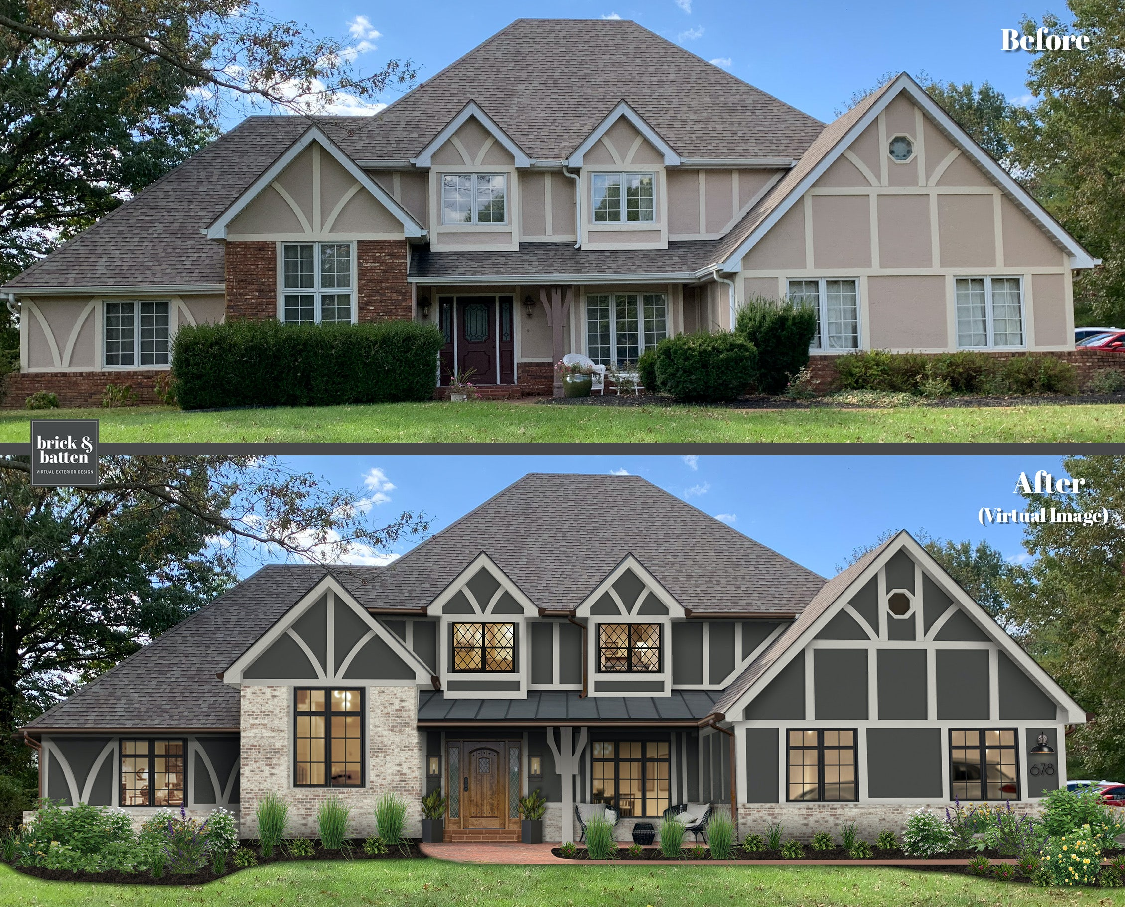 Before and after of a home painted gray