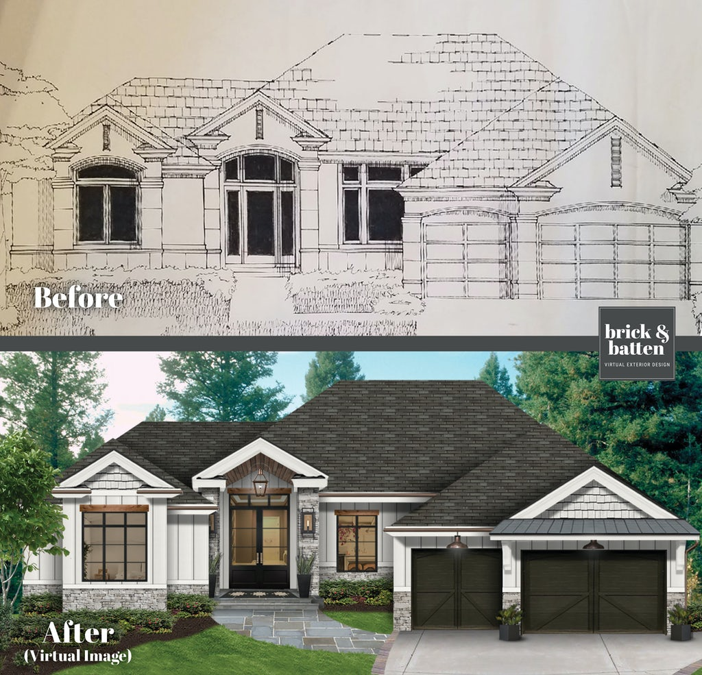 Before and after of a home transformed from a sketch to a virtual exterior design, with the home painted in Alabaster and featuring natural stone and charcoal gray accents
