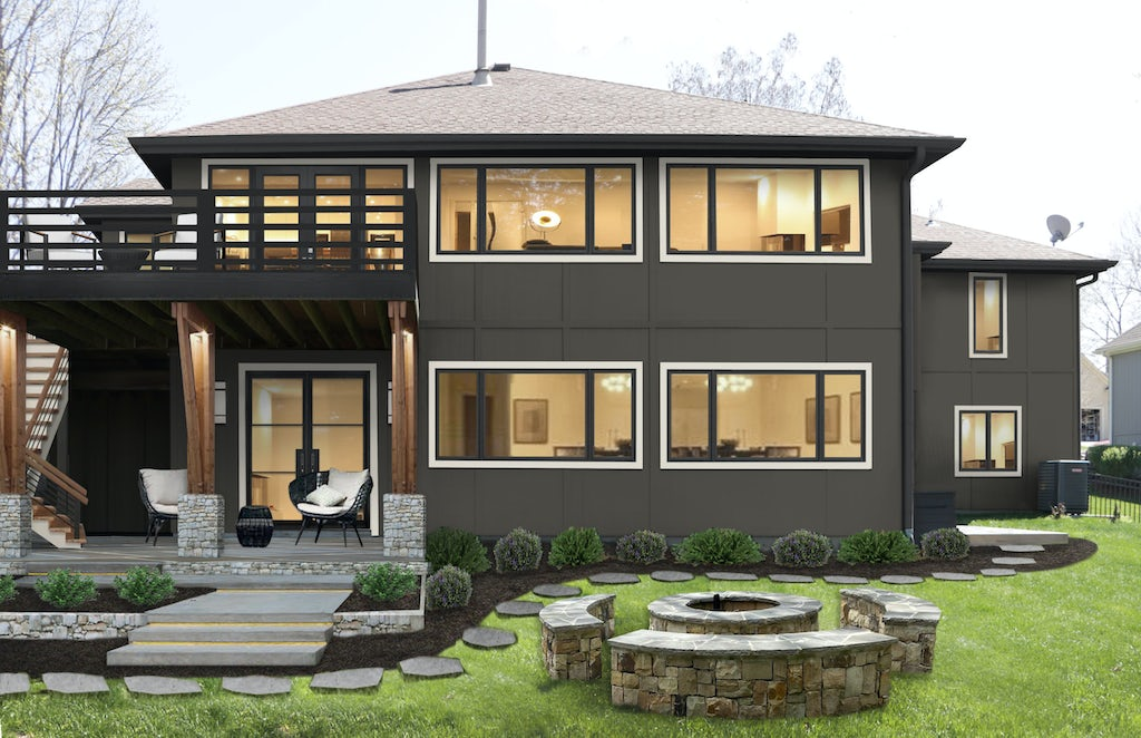 Virtual exterior design of the rear of a home with lots of windows, painted in Urbane Bronze with a warm off-white trim. Second-story deck, patio below, outdoor fire pit
