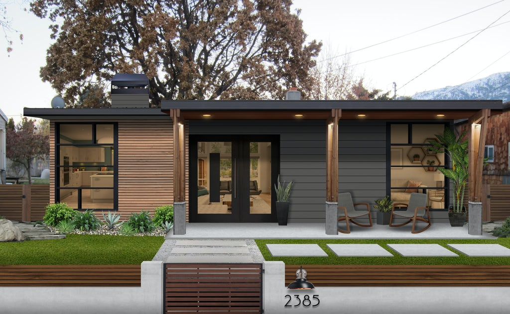 Virtual exterior design of a California modern home painted in Kendall Charcoal by Benjamin Moore with lots of wood accents