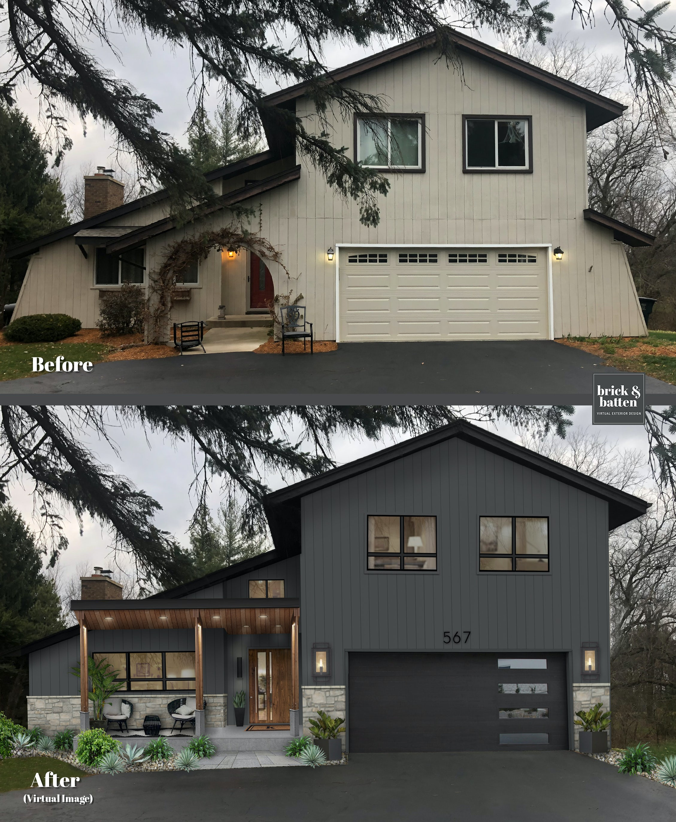 Before and after of a home painted Graphite