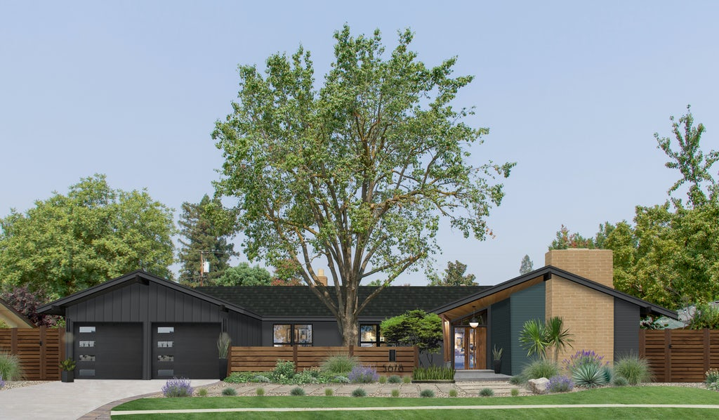 Virtual exterior design of a mid-century modern ranch painted in a dark charcoal gray with natural wood and Amazon Green as an accent color