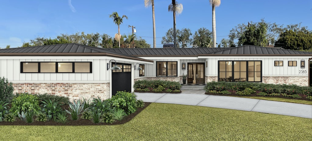 Virtual exterior design of a modern farmhouse style ranch painted in Simply White with brick, black accents, and a tin roof