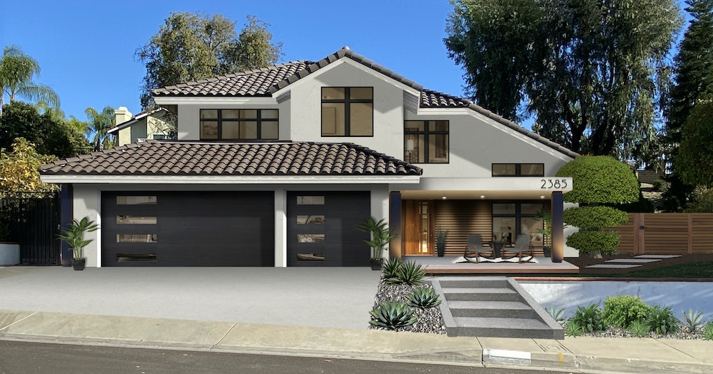 A modern home painted in Seapearl with a clay roof, natural wood, and black accents