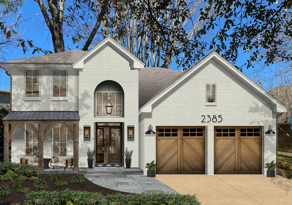 Virtual exterior design of a two-story brick Old English cottage painted in Revere Pewter with natural wood accents