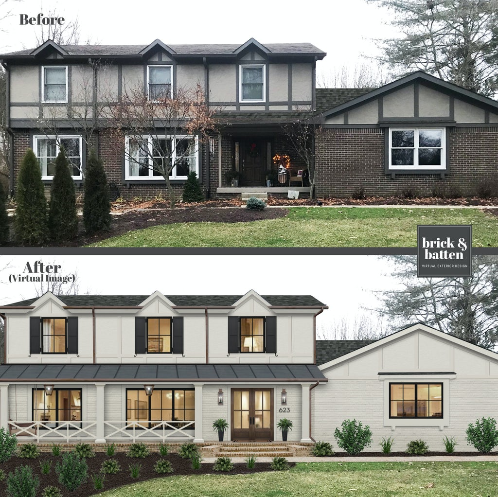 Before-and-after of a traditional two-story home with both siding and brick painted in Olympic Mountain by Benjamin Moore