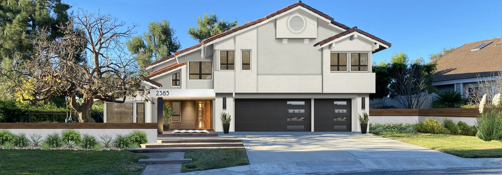 Virtual exterior design of a modern Mediterranean style home painted in Alabaster