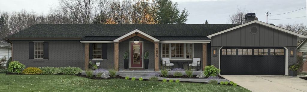 Virtual exterior design of a rustic ranch painted in Tricorn Black with natural wood and black accents