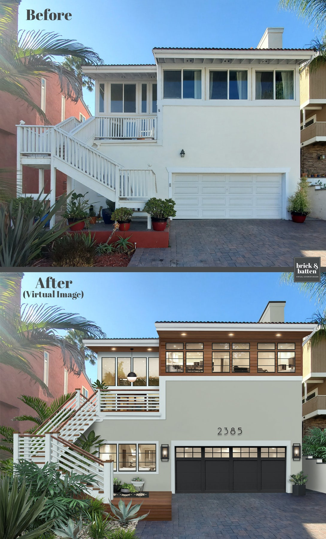 Before and after of a home painted with Sea Glass by Benjamin Moore