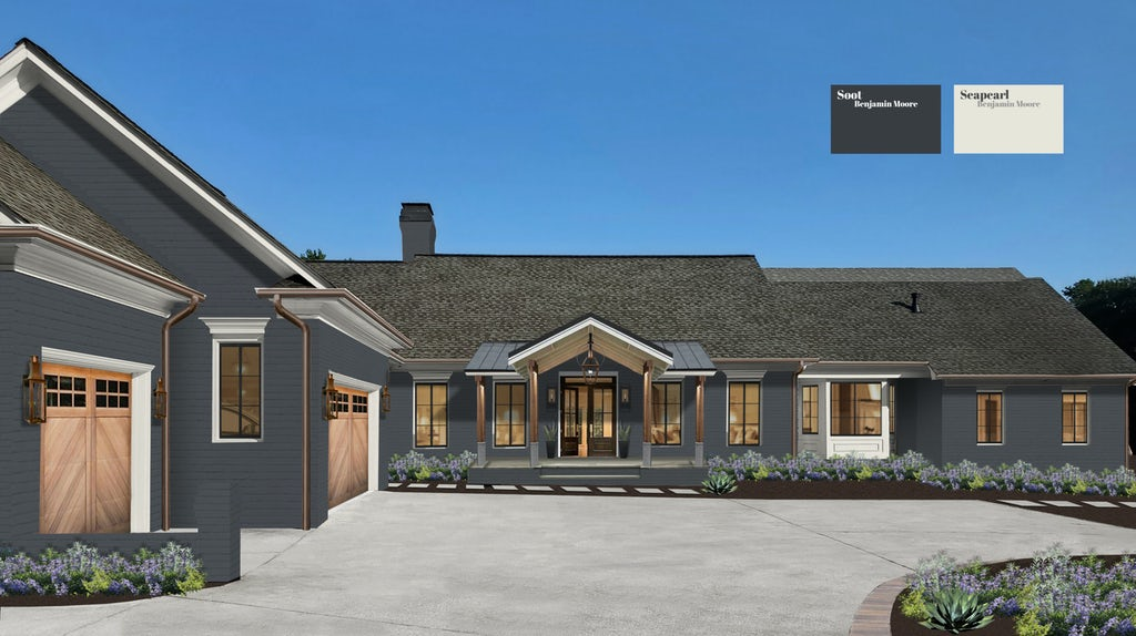 A transitional home painted in Soot with Seapearl trim and wood and copper accents