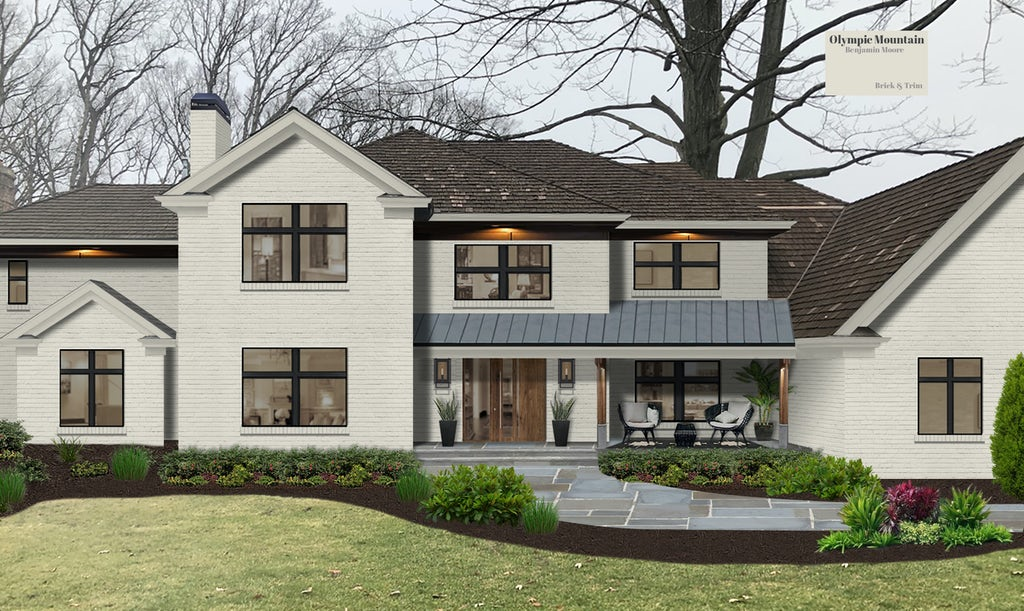 Virtual exterior design of a traditional brick home painted in Olympic Mountain by Benjamin Moore