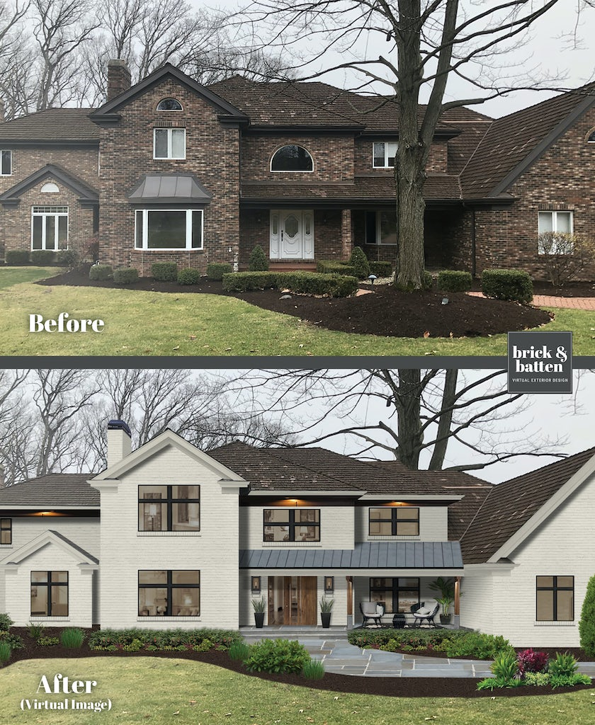 Before and after of a traditional brick home painted in Olympic Mountains