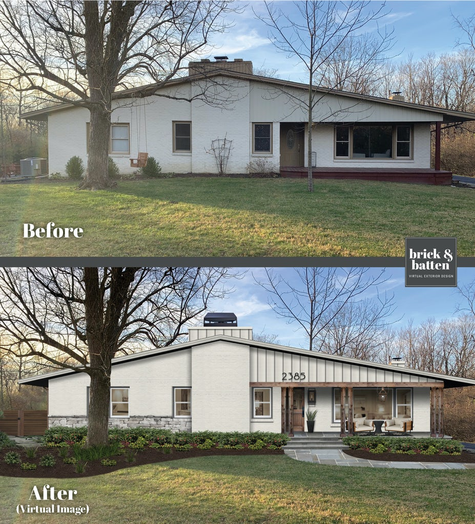 Before and after of a contemporary home with an updated porch, stone facade, and a new walkway