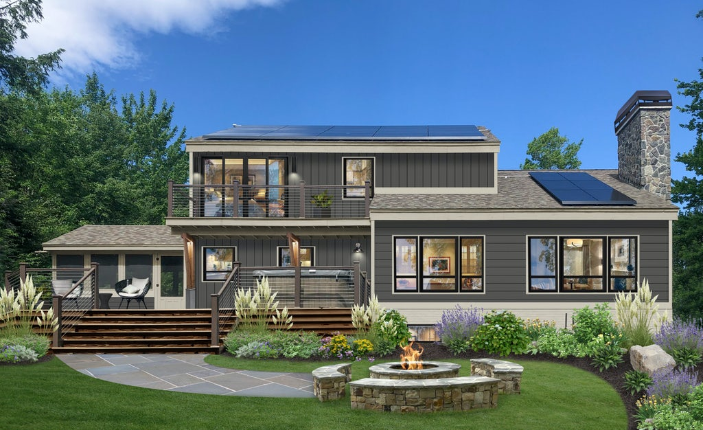 Rear exterior virtual design of a home painted in Iron Mountain with greige trim, a large deck, and an outdoor fire pit