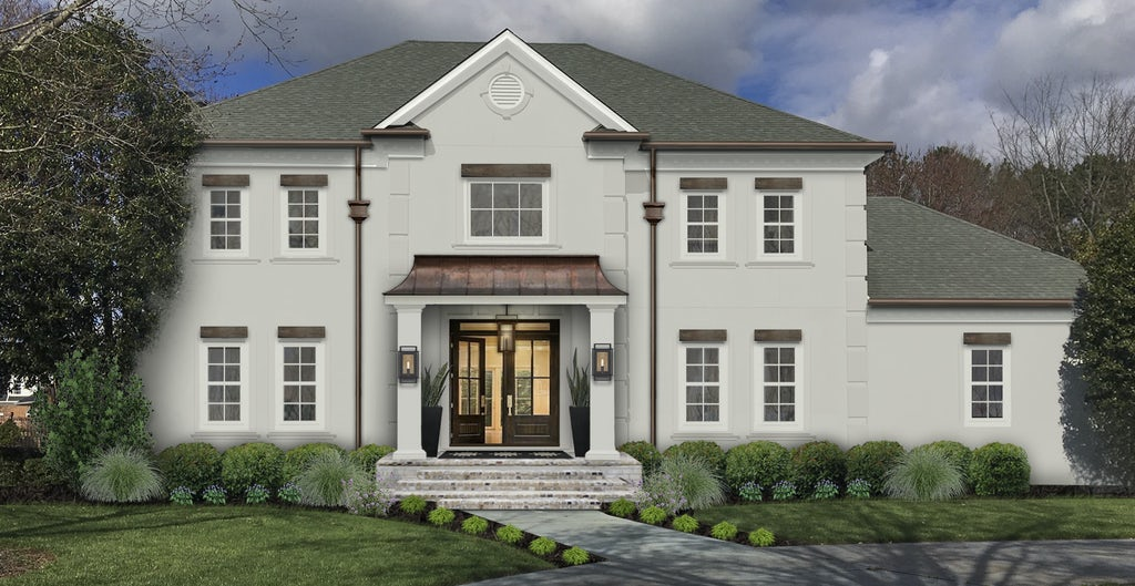Virtual exterior design of a traditional two-story home painted in Repose Gray with copper accents