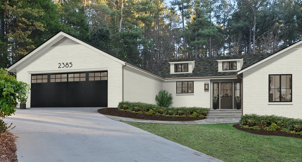 Virtual exterior design of a transitional brick home painted in a creamy off-white with Urbane Bronze accents