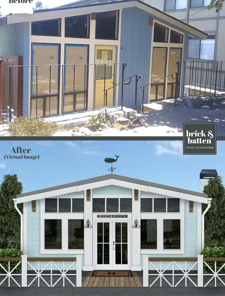 Before and after of a California bungalow with beachy vibes