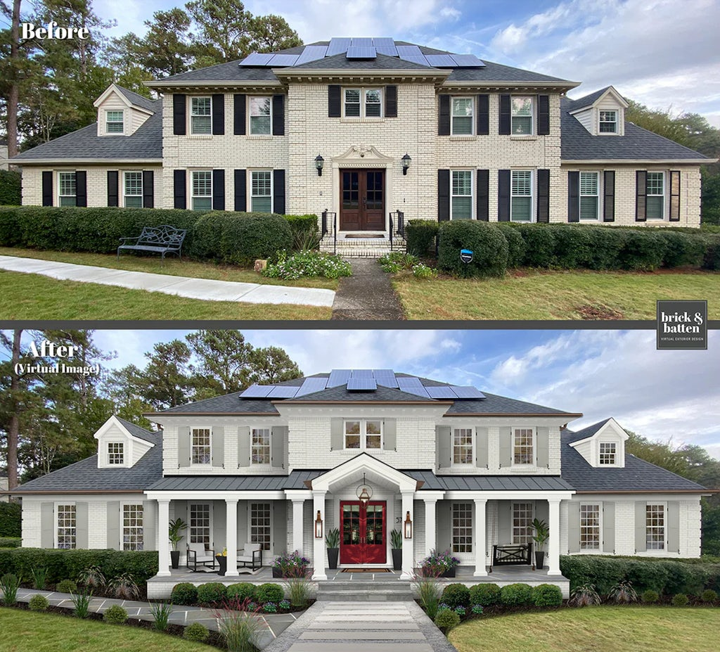 Before and after of a traditional two-story home with painted brick, a new front porch and awning, and a bright red double front door